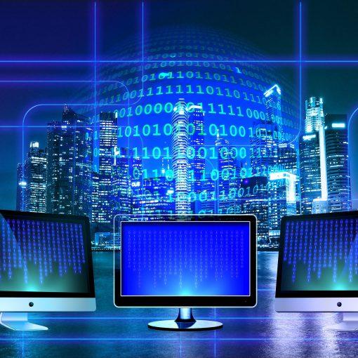 Imagem ilustrativa com computadores, números binários, rede computacional